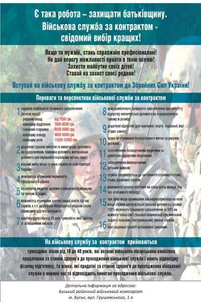 Військомат у Буську запрошує на військову служба за контрактом в ЗСУ
