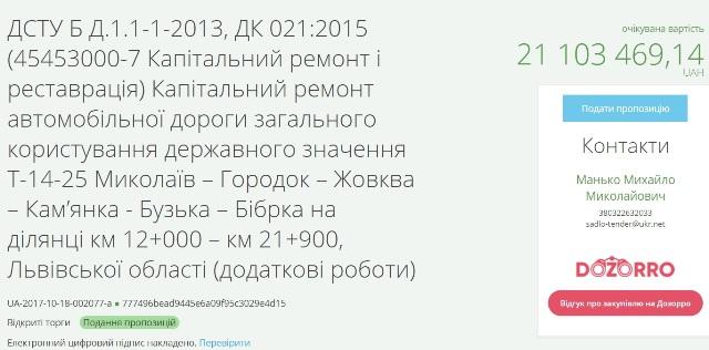 На ремонт частини дороги Миколаїв-Бібрка виділили більше 20 мільйонів